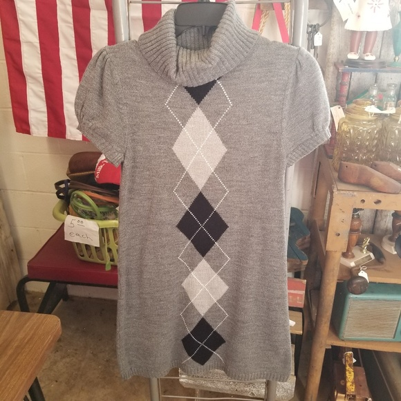 Sweater Project Dresses & Skirts - Sweater Project Grey Argyle Sweater Dress Tunic